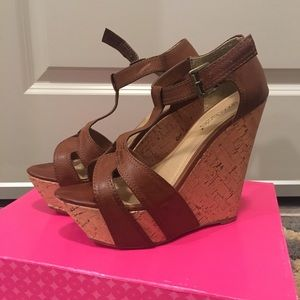 "Shoedazzle brown wedge sandals ""jan"" 7.5"